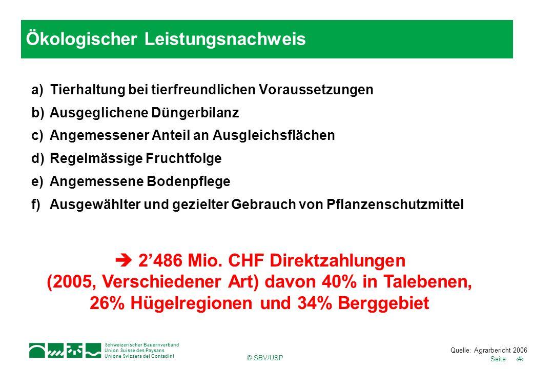 11Seite Schweizerischer Bauernverband Union Suisse des Paysans Unione Svizzera dei Contadini © SBV/USP a)Tierhaltung bei tierfreundlichen Voraussetzun