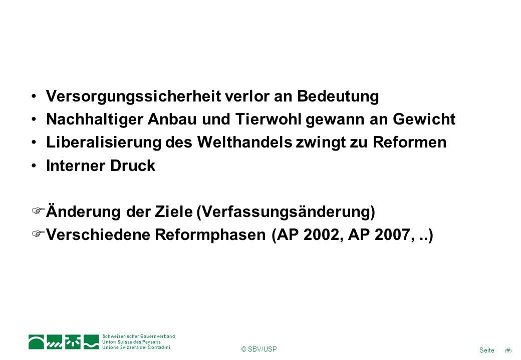 5Seite Schweizerischer Bauernverband Union Suisse des Paysans Unione Svizzera dei Contadini © SBV/USP Versorgungssicherheit verlor an Bedeutung Nachha