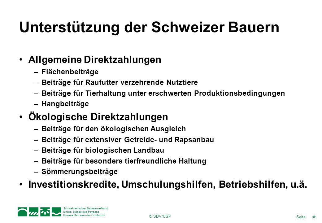 9Seite Schweizerischer Bauernverband Union Suisse des Paysans Unione Svizzera dei Contadini © SBV/USP Unterstützung der Schweizer Bauern Allgemeine Di