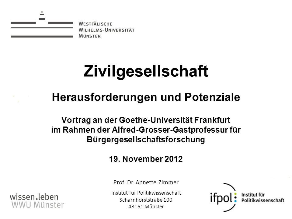 Prof. Dr. Annette Zimmer Institut für Politikwissenschaft Scharnhorststraße 100 48151 Münst er Zivilgesellschaft Herausforderungen und Potenziale Vort