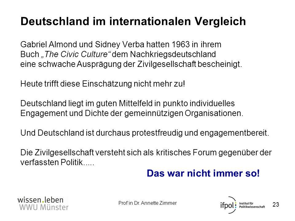 Profin Dr. Annette Zimmer Deutschland im internationalen Vergleich 23 Gabriel Almond und Sidney Verba hatten 1963 in ihrem Buch The Civic Culture dem
