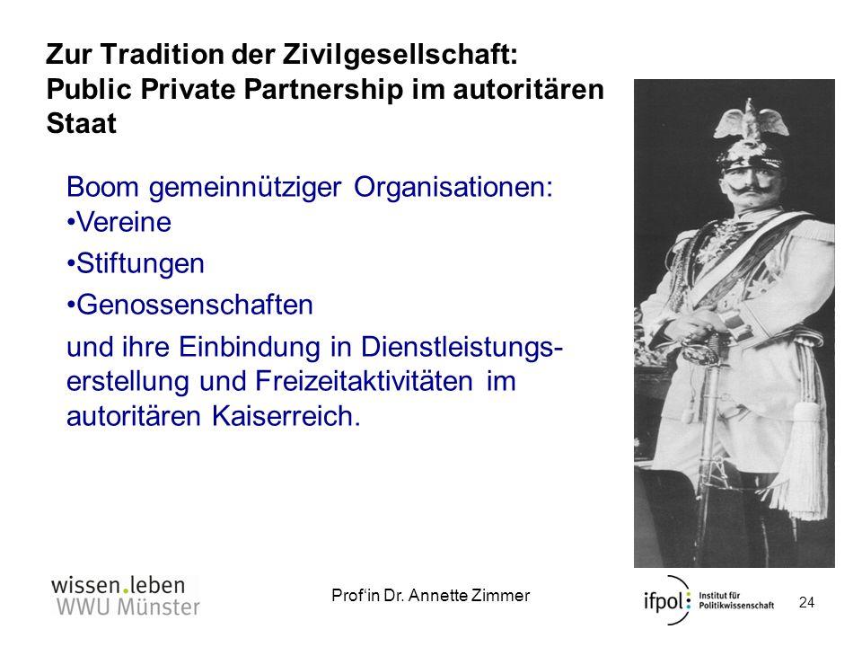 Profin Dr. Annette Zimmer Zur Tradition der Zivilgesellschaft: Public Private Partnership im autoritären Staat 24 Boom gemeinnütziger Organisationen: