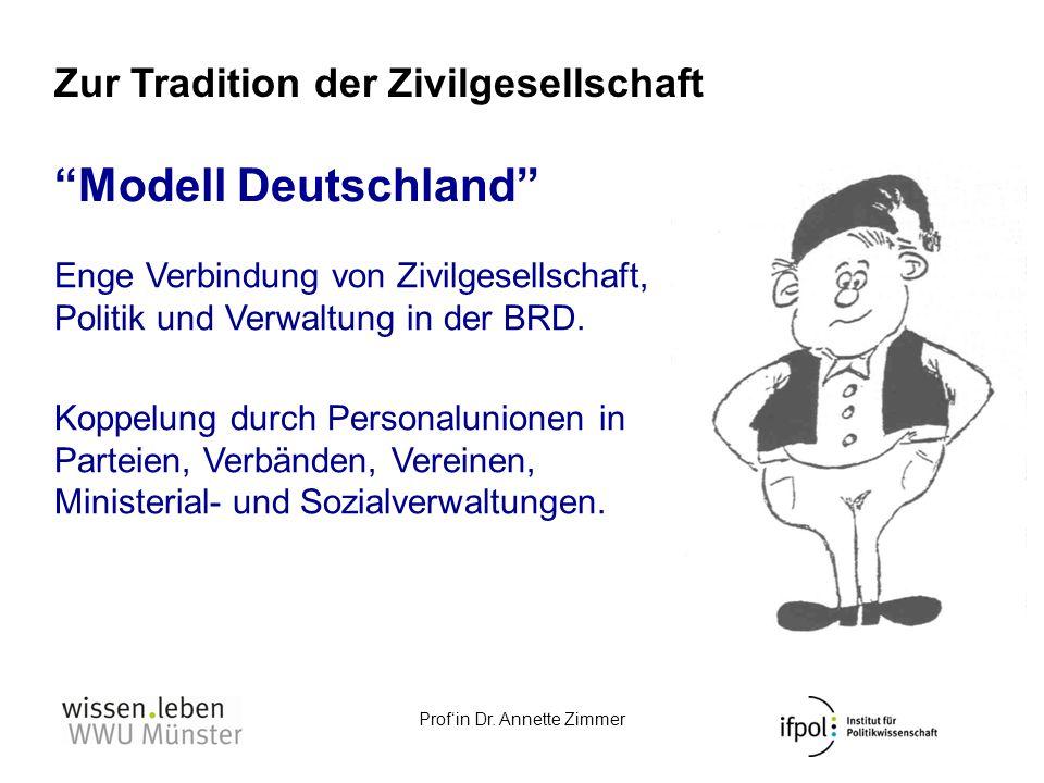 Profin Dr. Annette Zimmer Modell Deutschland Enge Verbindung von Zivilgesellschaft, Politik und Verwaltung in der BRD. Koppelung durch Personalunionen