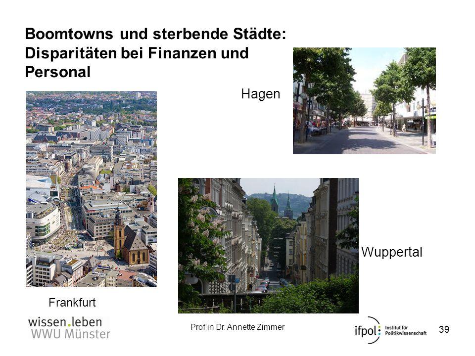 Profin Dr. Annette Zimmer Boomtowns und sterbende Städte: Disparitäten bei Finanzen und Personal 39 http://www.pan oramio.com/ph oto/10040323 Frankfur