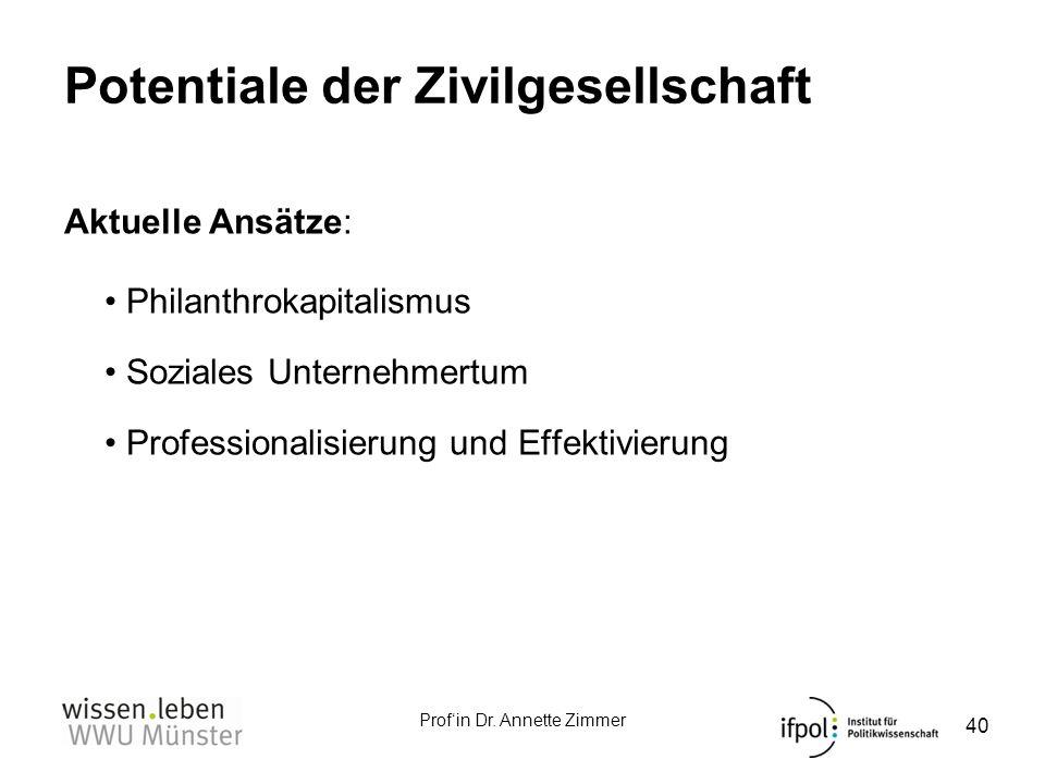 Profin Dr. Annette Zimmer Potentiale der Zivilgesellschaft Aktuelle Ansätze: Philanthrokapitalismus Soziales Unternehmertum Professionalisierung und E