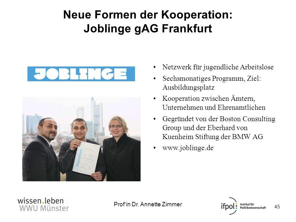 Profin Dr. Annette Zimmer Neue Formen der Kooperation: Joblinge gAG Frankfurt Netzwerk für jugendliche Arbeitslose Sechsmonatiges Programm, Ziel: Ausb