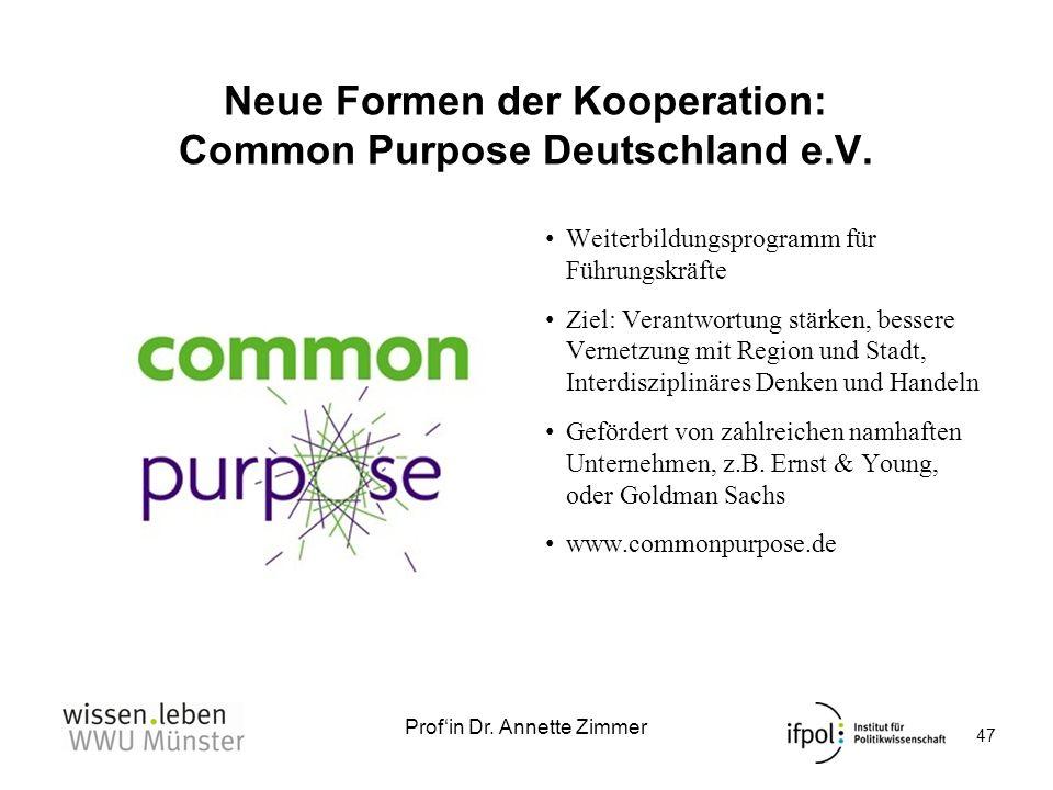 Profin Dr. Annette Zimmer Neue Formen der Kooperation: Common Purpose Deutschland e.V. Weiterbildungsprogramm für Führungskräfte Ziel: Verantwortung s