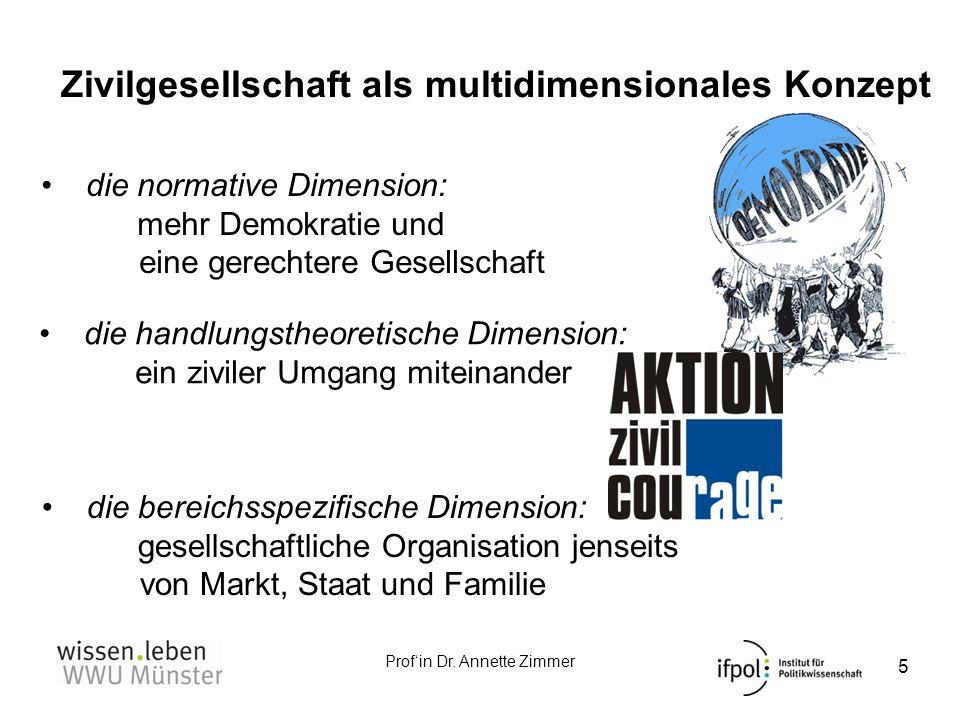 Profin Dr. Annette Zimmer Zivilgesellschaft als multidimensionales Konzept 5 die normative Dimension: mehr Demokratie und eine gerechtere Gesellschaft
