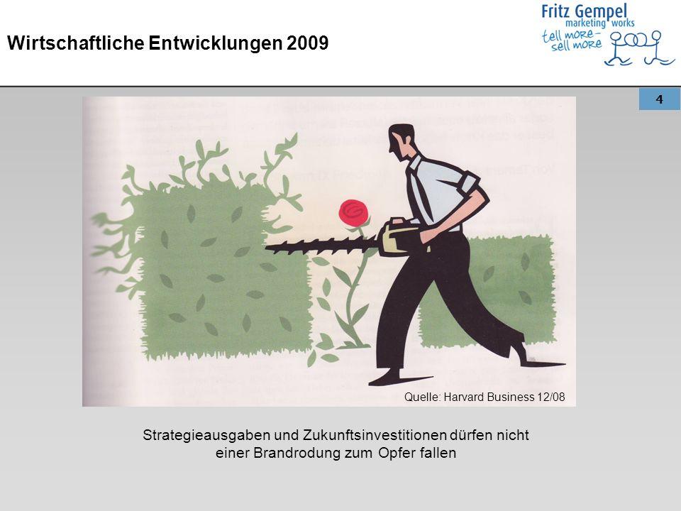 5 Wirtschaftliche Entwicklungen 2009 Entwicklung: Krisenzeiten führen in den Unternehmen zu Ausgabenkürzungen.