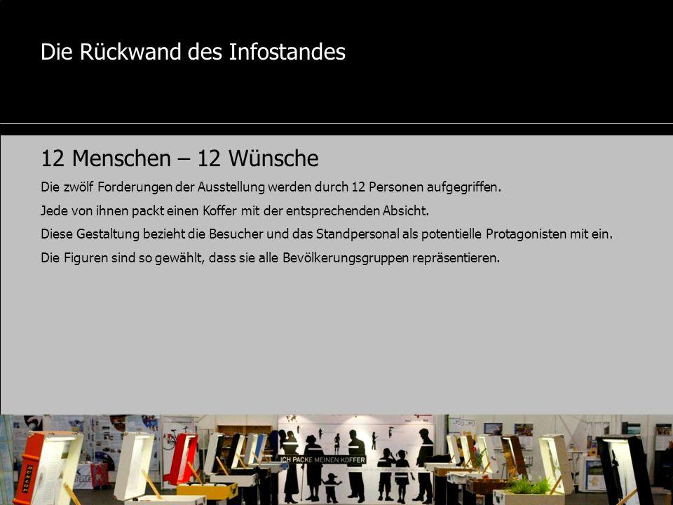Die Rückwand des Infostandes 12 Menschen – 12 Wünsche Die zwölf Forderungen der Ausstellung werden durch 12 Personen aufgegriffen.