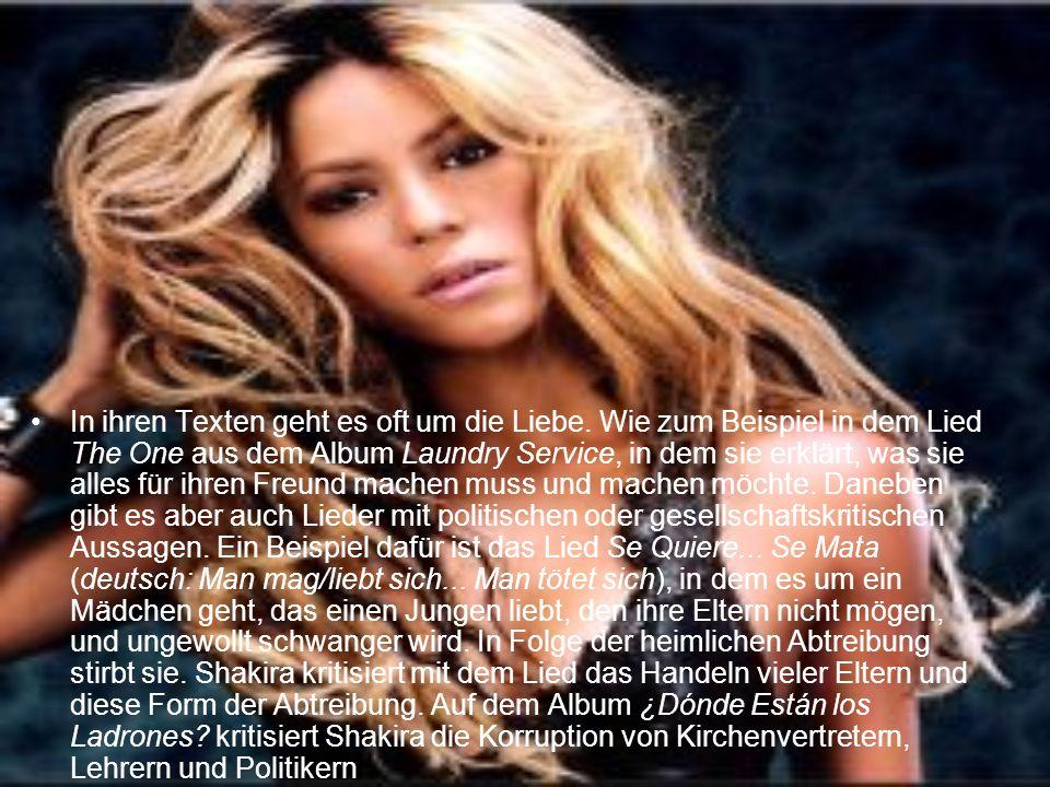 In ihren Texten geht es oft um die Liebe. Wie zum Beispiel in dem Lied The One aus dem Album Laundry Service, in dem sie erklärt, was sie alles für ih