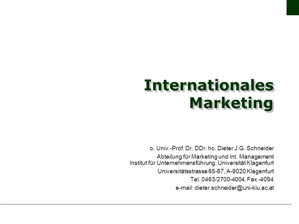 Internationales Marketing o. Univ.-Prof. Dr. DDr.