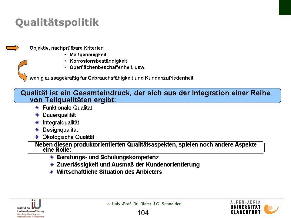 o. Univ.-Prof. Dr. Dieter J.G. Schneider 104 Qualitätspolitik