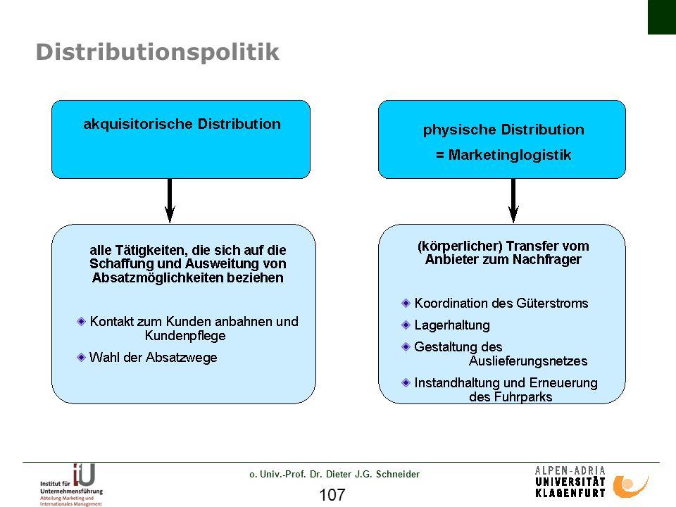 o. Univ.-Prof. Dr. Dieter J.G. Schneider 107 Distributionspolitik