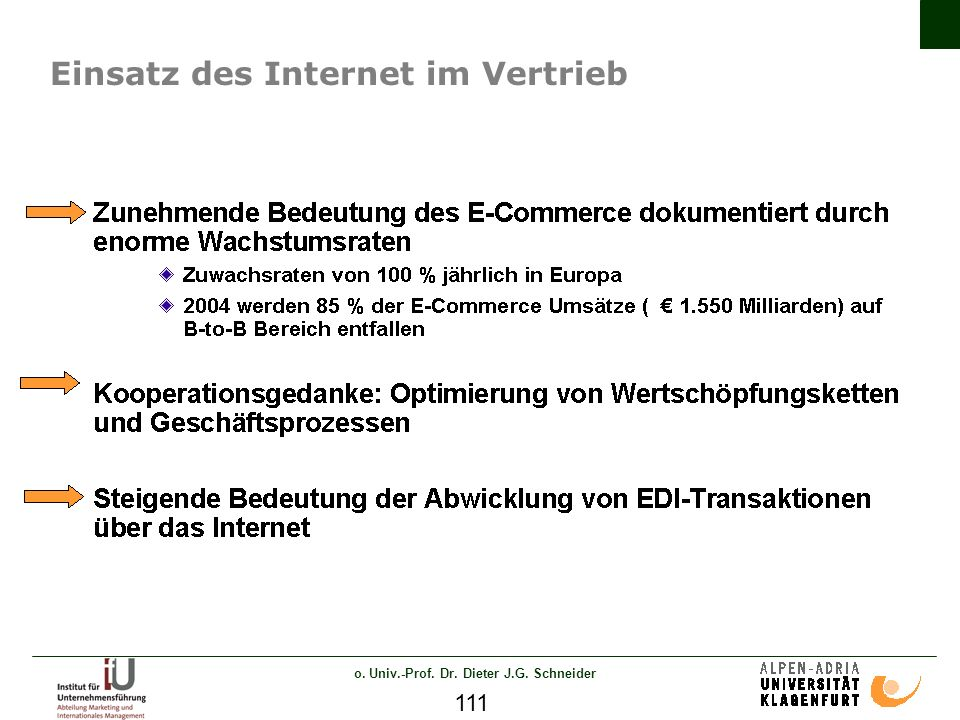 o. Univ.-Prof. Dr. Dieter J.G. Schneider 111 Einsatz des Internet im Vertrieb