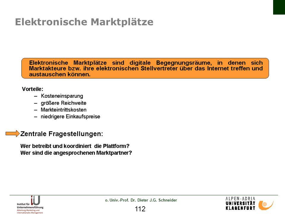 o. Univ.-Prof. Dr. Dieter J.G. Schneider 112 Elektronische Marktplätze