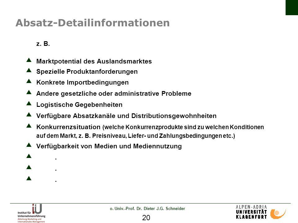o. Univ.-Prof. Dr. Dieter J.G. Schneider 20 Absatz-Detailinformationen z.