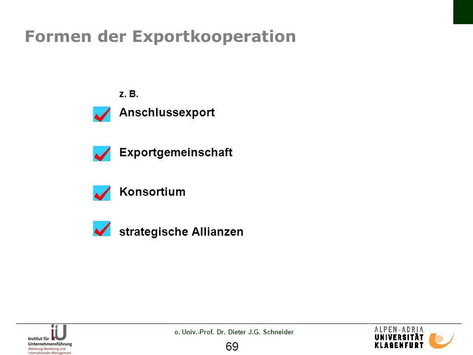 o. Univ.-Prof. Dr. Dieter J.G. Schneider 69 Formen der Exportkooperation z.