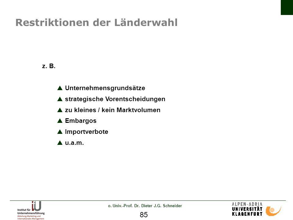o.Univ.-Prof. Dr. Dieter J.G. Schneider 85 Restriktionen der Länderwahl z.