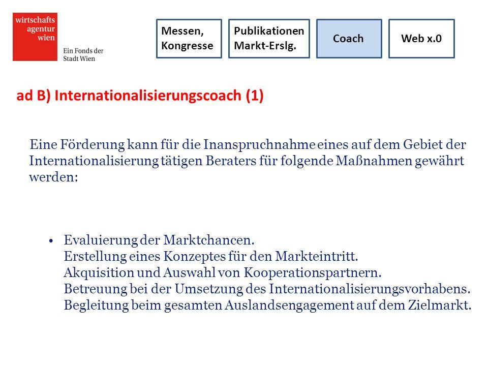 ad 4) Internationalisierungscoach (2) Anforderungen und Ablauf: Voraussetzung für teilnehmende Berater ist das Durchlaufen des Akkreditierungsverfahrens zum Exportberater bei Incite (www.incite.at).