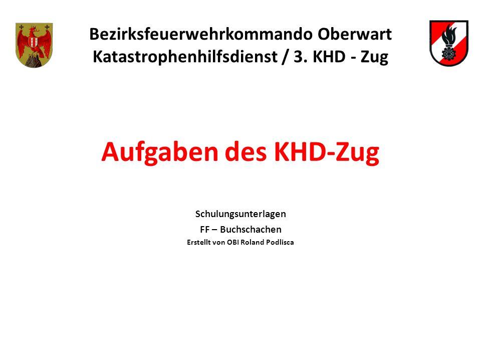 Aufgaben des KHD-Zug Bezirksfeuerwehrkommando Oberwart Katastrophenhilfsdienst / 3. KHD - Zug Schulungsunterlagen FF – Buchschachen Erstellt von OBI R