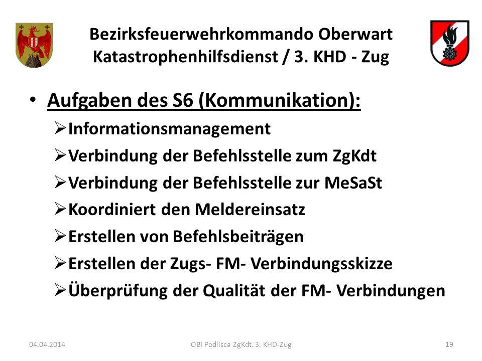 Bezirksfeuerwehrkommando Oberwart Katastrophenhilfsdienst / 3. KHD - Zug Aufgaben des S6 (Kommunikation): Informationsmanagement Verbindung der Befehl