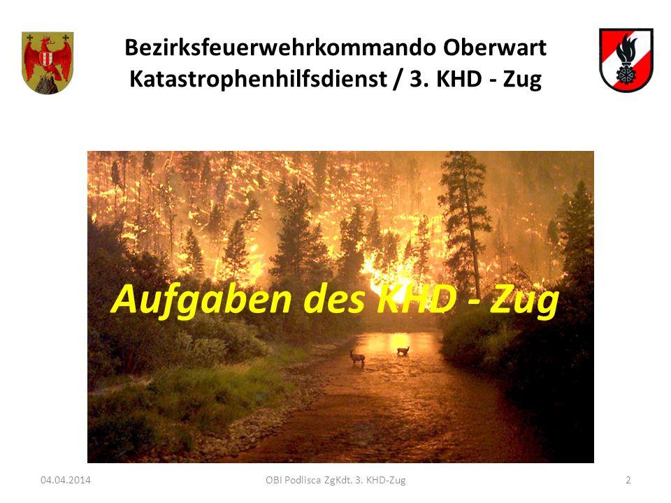 Bezirksfeuerwehrkommando Oberwart Katastrophenhilfsdienst / 3. KHD - Zug 04.04.20142OBI Podlisca ZgKdt. 3. KHD-Zug Aufgaben des KHD - Zug