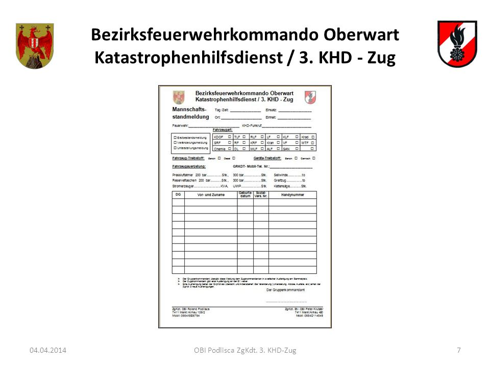 Bezirksfeuerwehrkommando Oberwart Katastrophenhilfsdienst / 3. KHD - Zug 04.04.2014OBI Podlisca ZgKdt. 3. KHD-Zug7