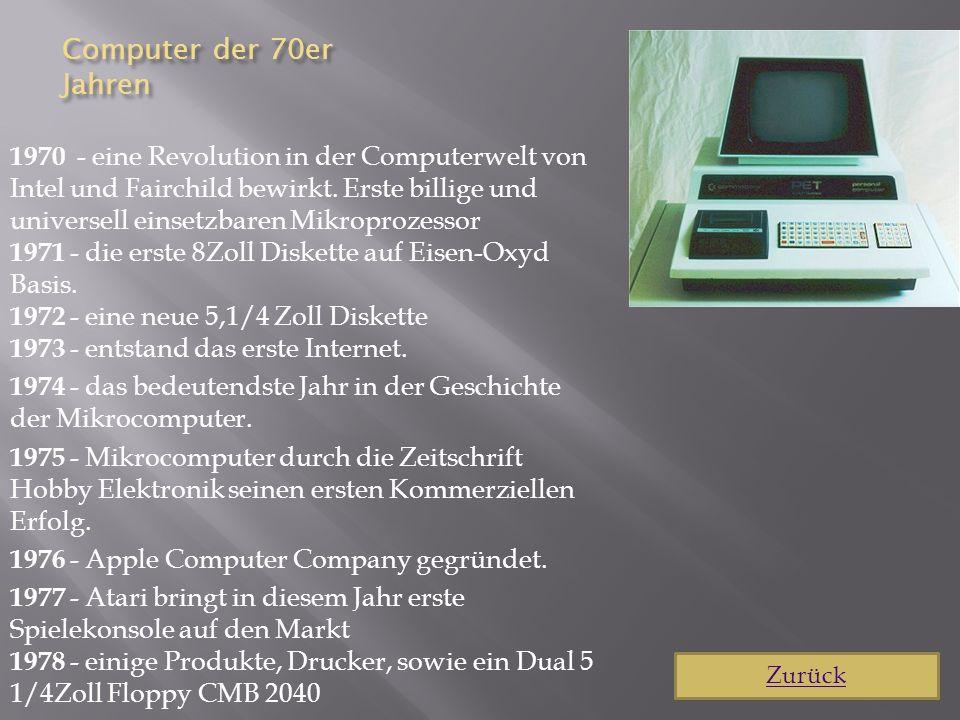 Computer der 80er Jahre 1980 - doppelseitige 3.5Zoll Diskette 1981 - bringt Adam Osborne den erstem Laptop heraus 1982 - Toshiba bringt ihren ersten Computer auf den Markt 1983 - erscheint Lotus 1-2-3 für den IBM PC, es ist das größte Programm zu dieser Zeit und wird rund 60,000mal verkauft.