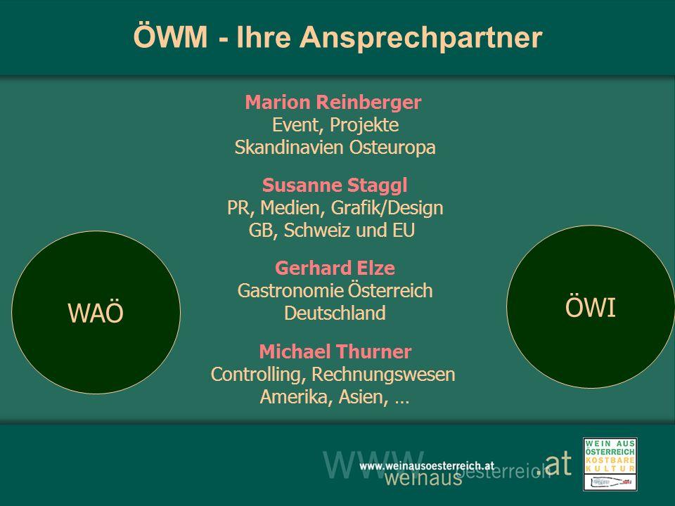 ÖWM - Ihre Ansprechpartner Marion Reinberger Event, Projekte Skandinavien Osteuropa Susanne Staggl PR, Medien, Grafik/Design GB, Schweiz und EU Gerhar