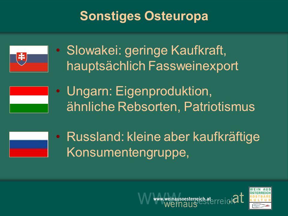 Sonstiges Osteuropa Slowakei: geringe Kaufkraft, hauptsächlich Fassweinexport Ungarn: Eigenproduktion, ähnliche Rebsorten, Patriotismus Russland: kleine aber kaufkräftige Konsumentengruppe,