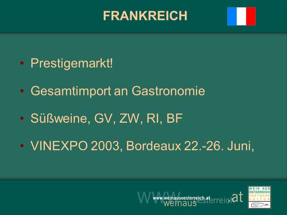 FRANKREICH Prestigemarkt! Gesamtimport an Gastronomie Süßweine, GV, ZW, RI, BF VINEXPO 2003, Bordeaux 22.-26. Juni,