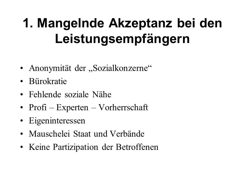 1. Mangelnde Akzeptanz bei den Leistungsempfängern Anonymität der Sozialkonzerne Bürokratie Fehlende soziale Nähe Profi – Experten – Vorherrschaft Eig