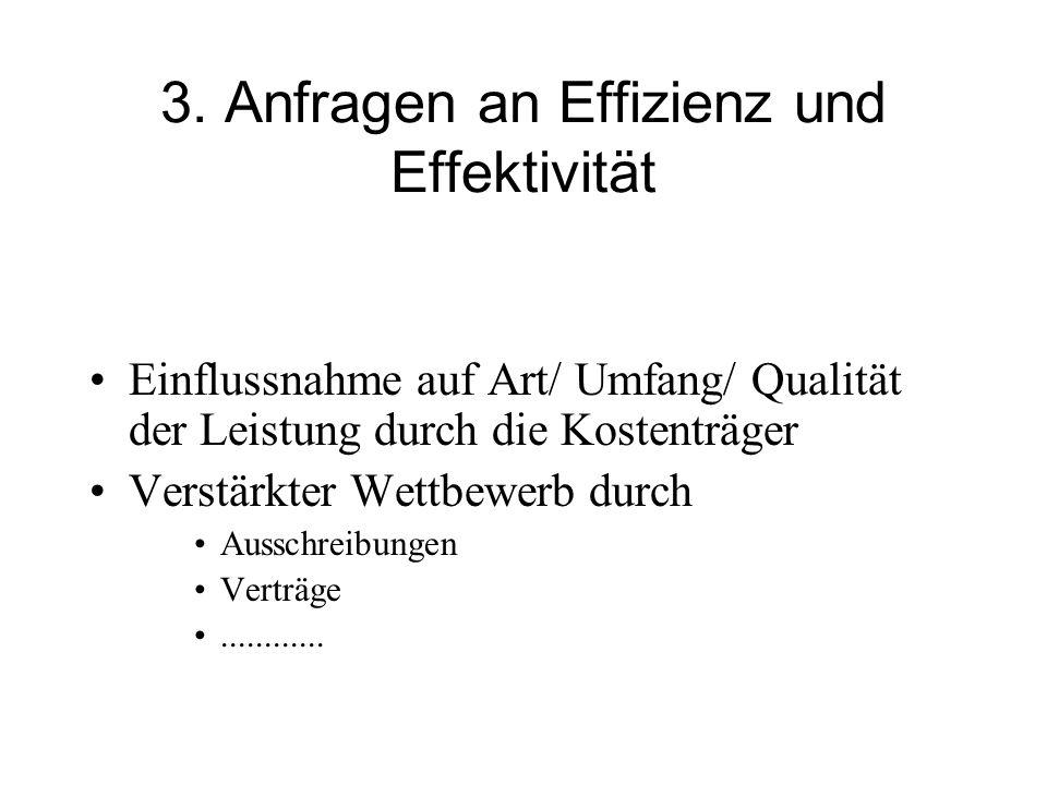 3. Anfragen an Effizienz und Effektivität Einflussnahme auf Art/ Umfang/ Qualität der Leistung durch die Kostenträger Verstärkter Wettbewerb durch Aus