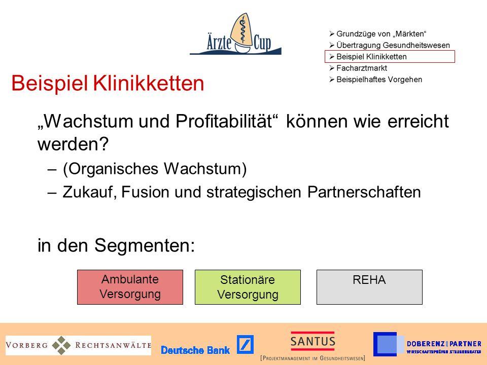 Beispiel Klinikketten Wachstum und Profitabilität können wie erreicht werden.