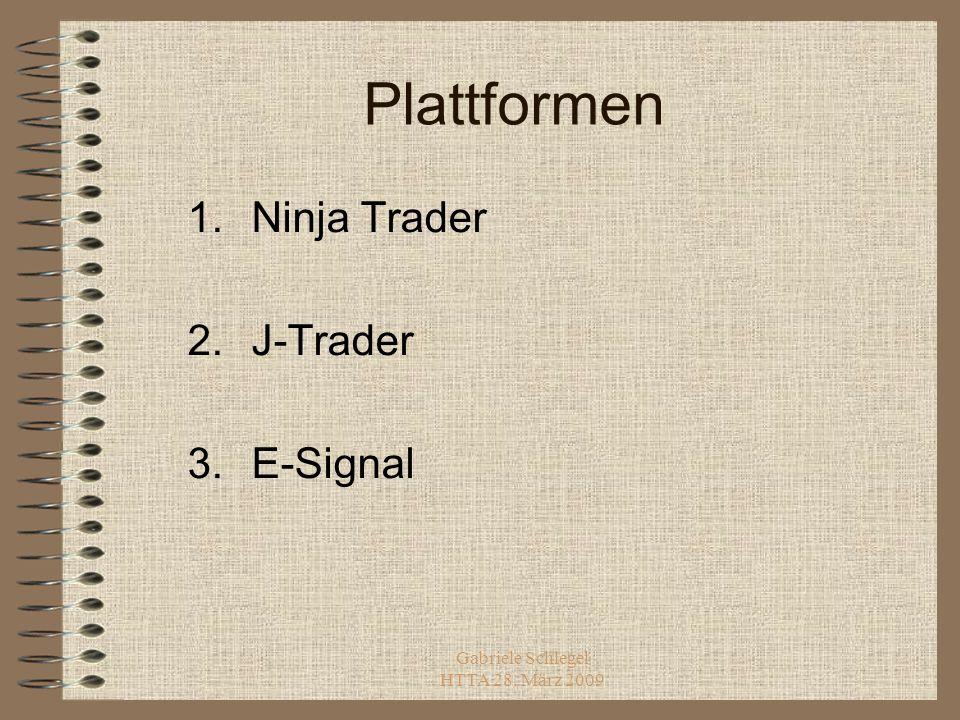 Gabriele Schlegel HTTA 28. März 2009 Plattformen 1.Ninja Trader 2.J-Trader 3.E-Signal