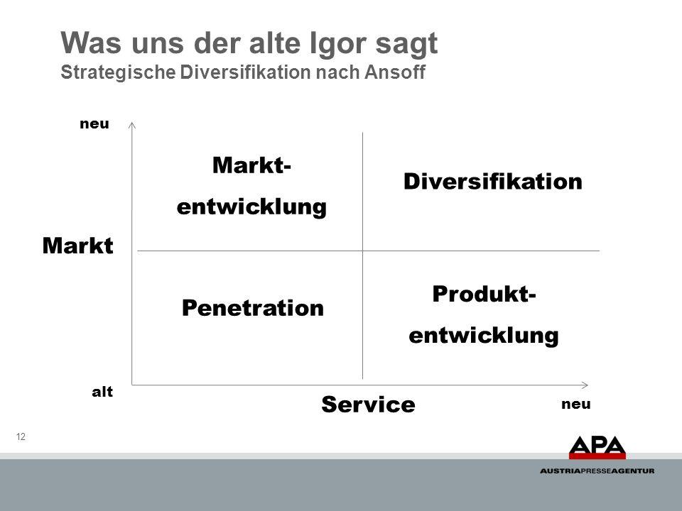 Was uns der alte Igor sagt Strategische Diversifikation nach Ansoff 12 Markt Service neu alt Penetration Diversifikation Markt- entwicklung Produkt- e