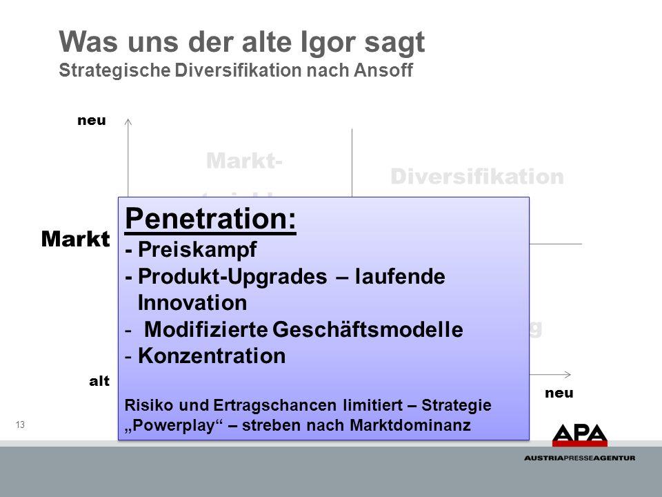 Was uns der alte Igor sagt Strategische Diversifikation nach Ansoff 13 Markt Service neu alt Penetration Diversifikation Markt- entwicklung Produkt- e