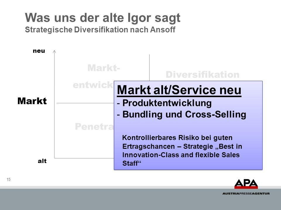 Was uns der alte Igor sagt Strategische Diversifikation nach Ansoff 15 Markt Service neu alt Penetration Diversifikation Markt- entwicklung Produkt- e