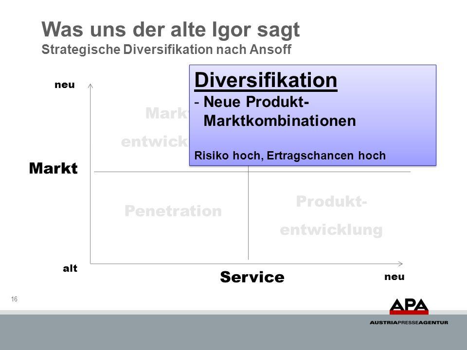 Was uns der alte Igor sagt Strategische Diversifikation nach Ansoff 16 Markt Service neu alt Penetration Diversifikation Markt- entwicklung Produkt- e