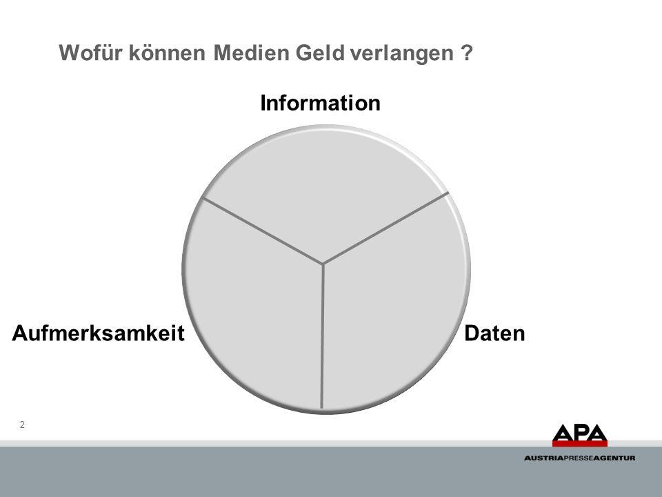Wofür können Medien Geld verlangen ? 2 Information AufmerksamkeitDaten