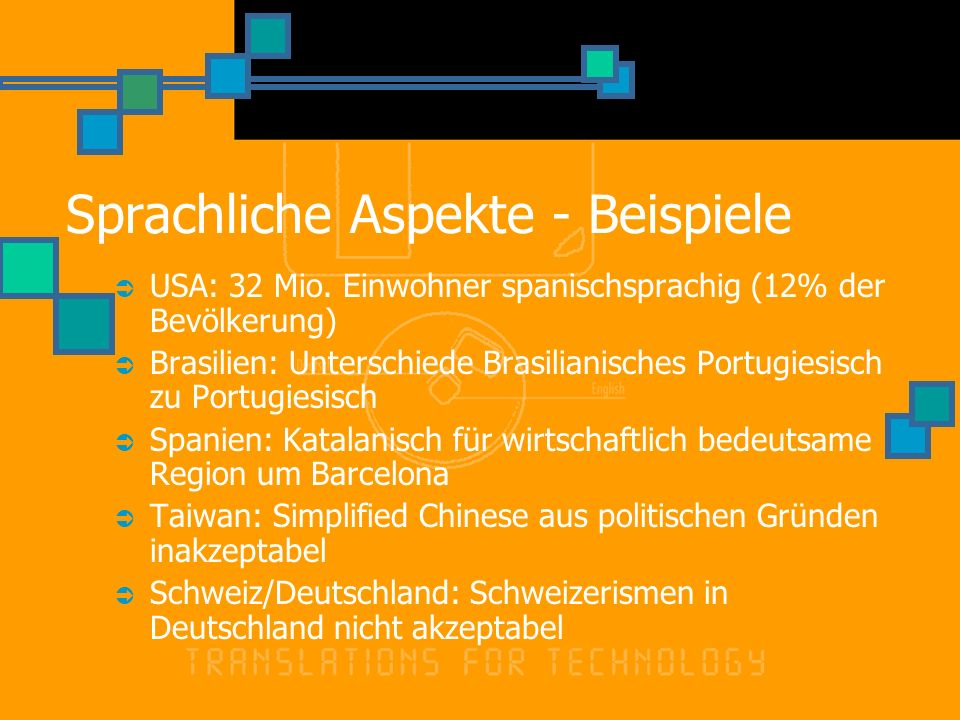 Sprachliche Aspekte - Beispiele USA: 32 Mio.