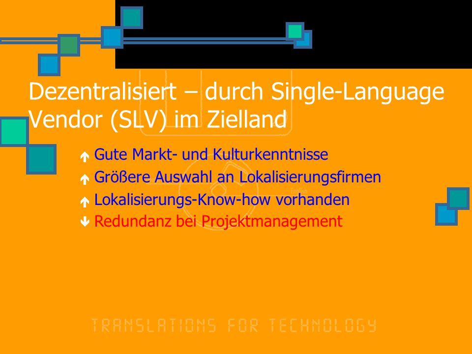Dezentralisiert – durch Single-Language Vendor (SLV) im Zielland Gute Markt- und Kulturkenntnisse Größere Auswahl an Lokalisierungsfirmen Lokalisierungs-Know-how vorhanden Redundanz bei Projektmanagement