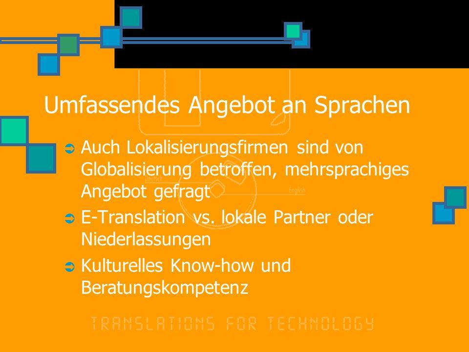 Umfassendes Angebot an Sprachen Auch Lokalisierungsfirmen sind von Globalisierung betroffen, mehrsprachiges Angebot gefragt E-Translation vs. lokale P