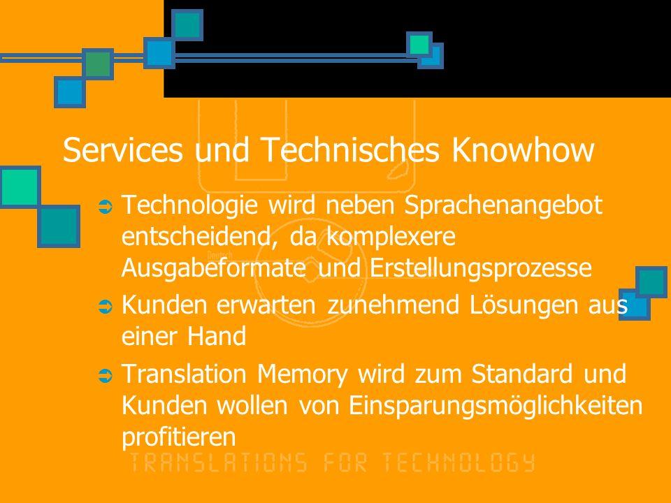 Services und Technisches Knowhow Technologie wird neben Sprachenangebot entscheidend, da komplexere Ausgabeformate und Erstellungsprozesse Kunden erwarten zunehmend Lösungen aus einer Hand Translation Memory wird zum Standard und Kunden wollen von Einsparungsmöglichkeiten profitieren