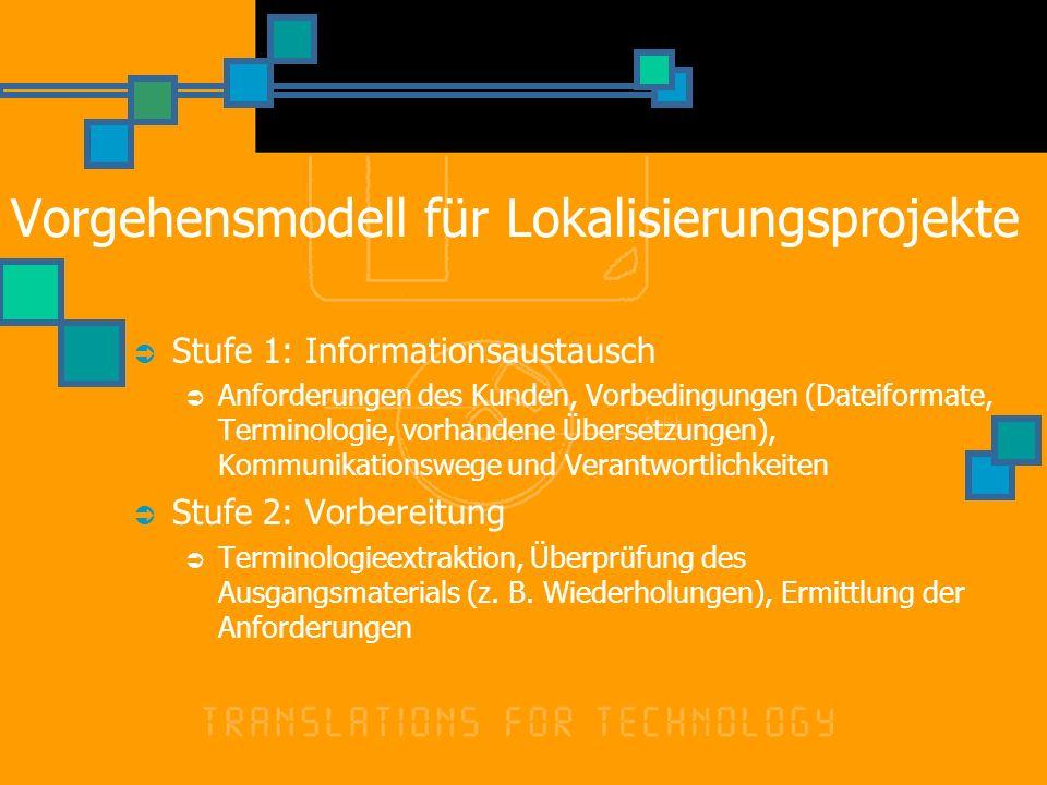 Stufe 1: Informationsaustausch Anforderungen des Kunden, Vorbedingungen (Dateiformate, Terminologie, vorhandene Übersetzungen), Kommunikationswege und