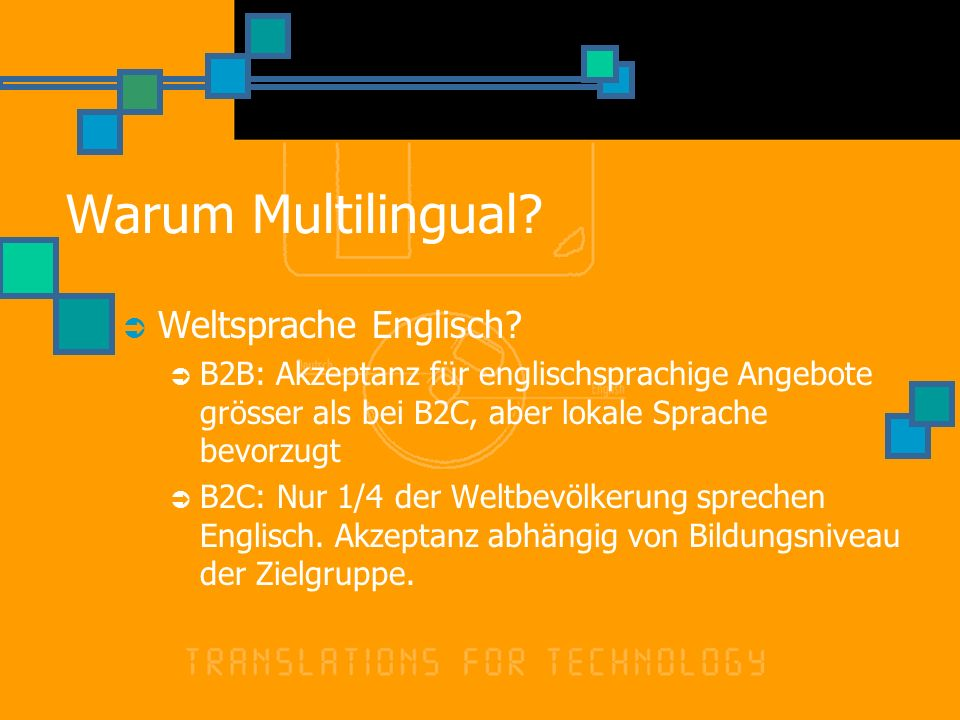 Warum Multilingual? Weltsprache Englisch? B2B: Akzeptanz für englischsprachige Angebote grösser als bei B2C, aber lokale Sprache bevorzugt B2C: Nur 1/