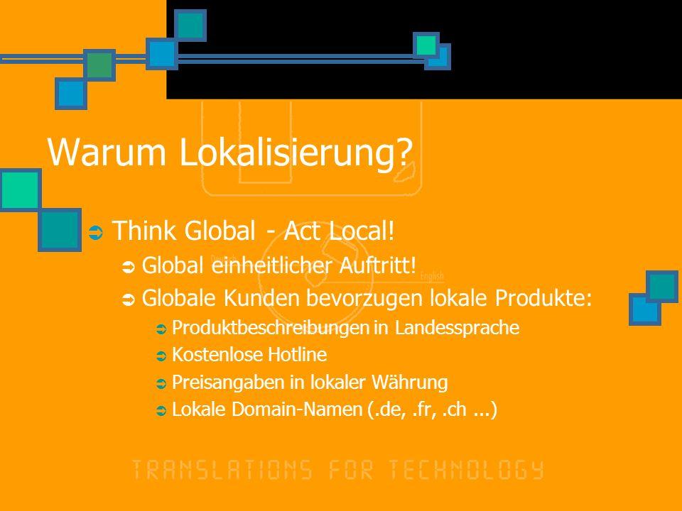 Warum Lokalisierung? Think Global - Act Local! Global einheitlicher Auftritt! Globale Kunden bevorzugen lokale Produkte: Produktbeschreibungen in Land