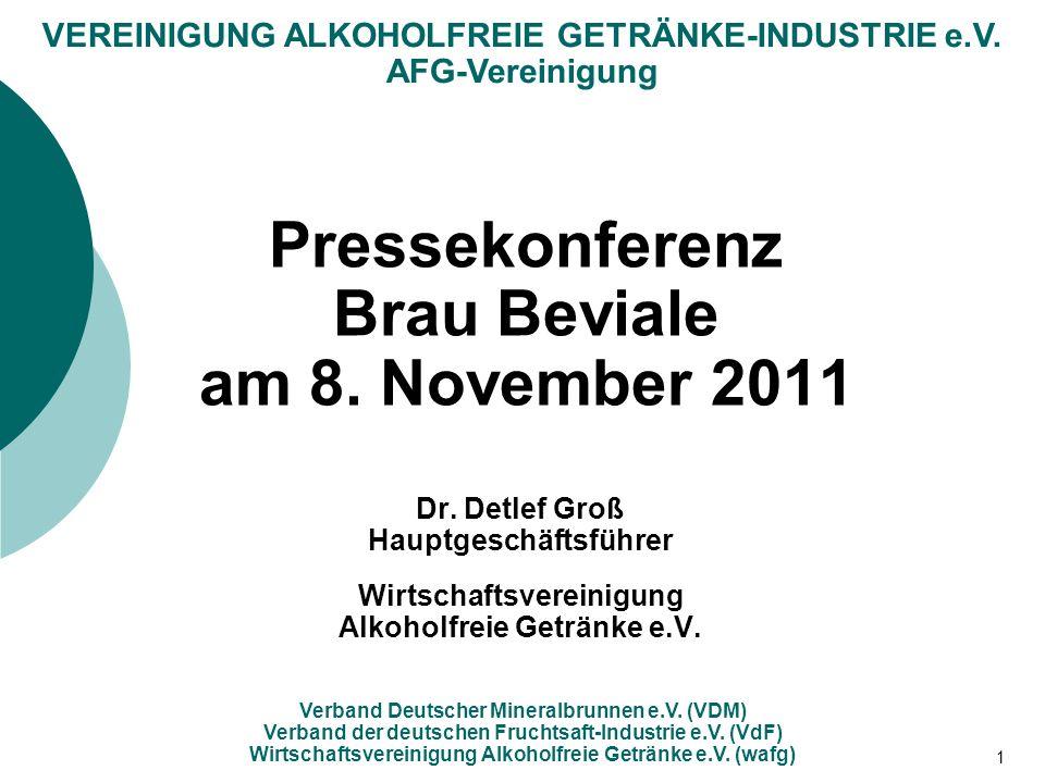VEREINIGUNG ALKOHOLFREIE GETRÄNKE-INDUSTRIE e.V. AFG-Vereinigung Verband Deutscher Mineralbrunnen e.V. (VDM) Verband der deutschen Fruchtsaft-Industri