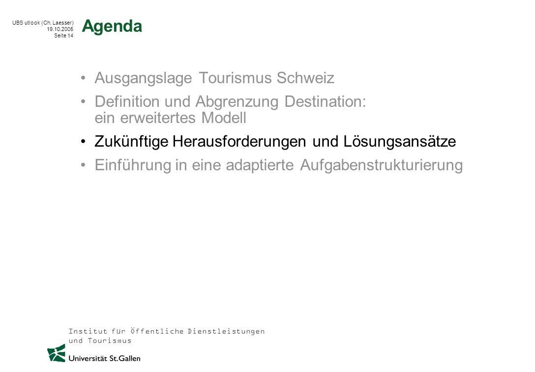 Institut für Öffentliche Dienstleistungen und Tourismus UBS utlook (Ch. Laesser) 19.10.2005 Seite 14 Agenda Ausgangslage Tourismus Schweiz Definition